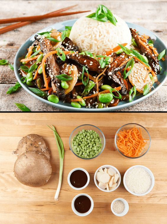 Mongolian Portobello Mushrooms with edamame and water chestnuts