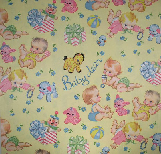 vintage baby gift / baby shower wrapping paper  paper, Baby shower invitation