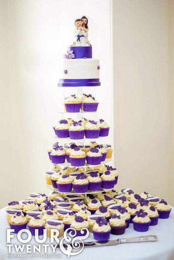 Cadbury Purple Wedding Cupcake Tower