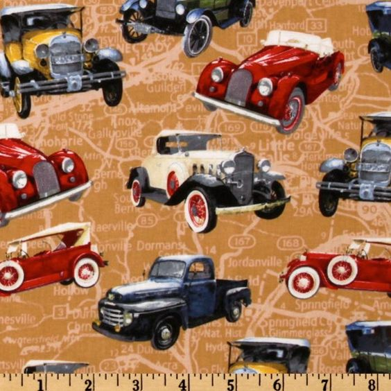From Fabric.com  Vintage Cars Toss Tan/Multi