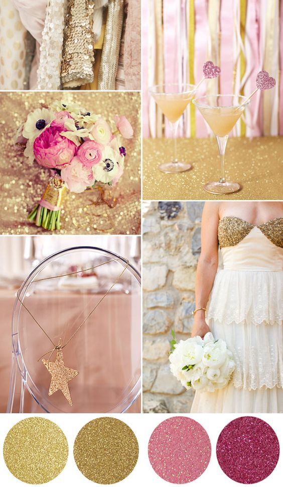 glitter wedding board - gold and pink sparkling ideas for a #wedding