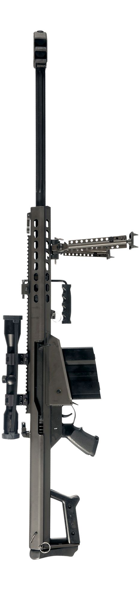 "Barrett M82 A1 ""Light Fifty"" 50 Caliber semi-automatic anti-material rifle with 10 round detachable box magazine. Range 1800 meters."