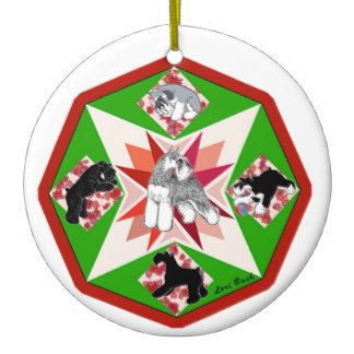 Quilted Schnauzers Christmas Ornament on Zazzle!  #schnauzer #miniatureschnauzer #minischnauzer #ornament #Christmas