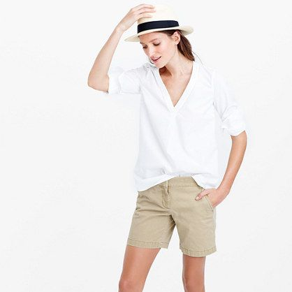 "JCrew Cotton Chino Short is back in a rainbow of colors and comes in 3, 4, 5, and 7"" lengths (these are 7"") rec by Shull family blog, Sits just above hip"