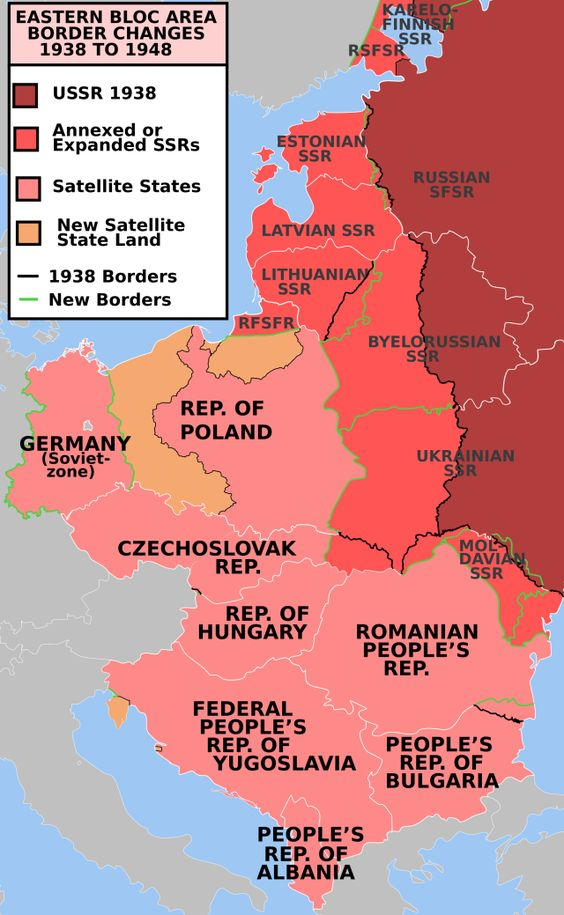 Map of border changes between 1938 and 1948 in the Eastern Bloc in Europe