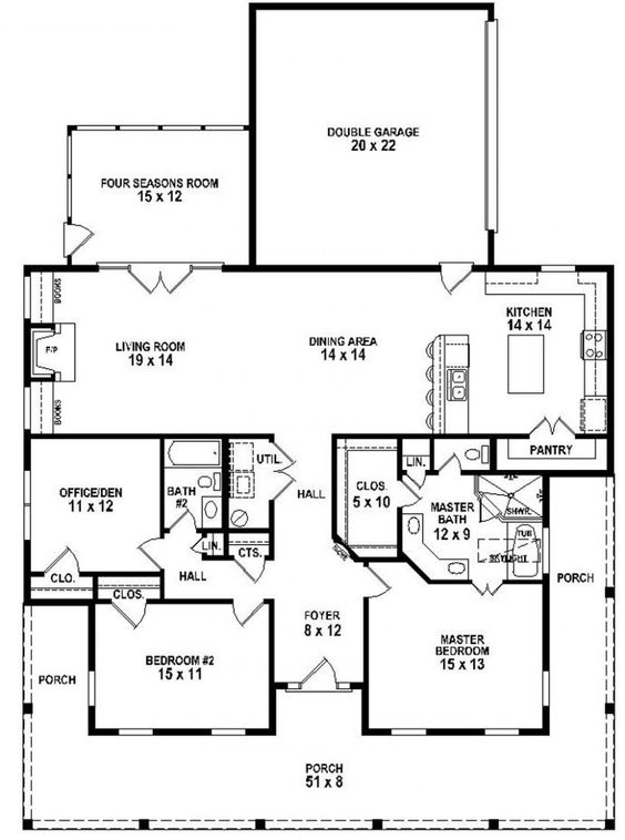 653881 3 bedroom 2 bath southern style house plan with for Bathroom house plans