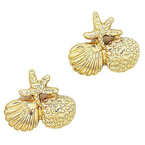 Sea Life Stud Earrings / AZERSEA010-GLD  Price : $18.00 http://www.arrascreations.com/Sea-Life-Stud-Earrings-AZERSEA010-GLD/dp/B00N5L5FT2