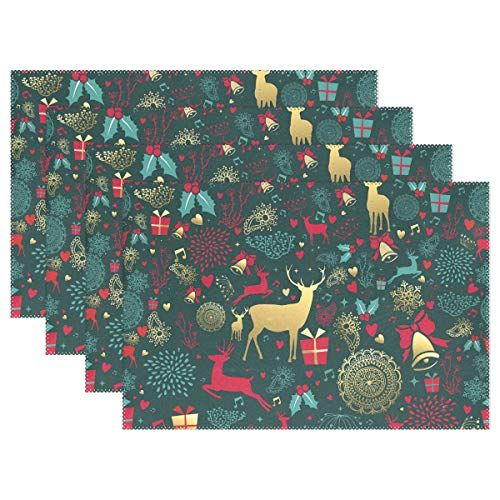 Zzaeo Merry Christmas Gold Deer Bell Blue Placemats Set Of 6 Washable Polyester Table Mat For Kids Festival Kitchen Blue Placemats Gold Christmas Gold Deer