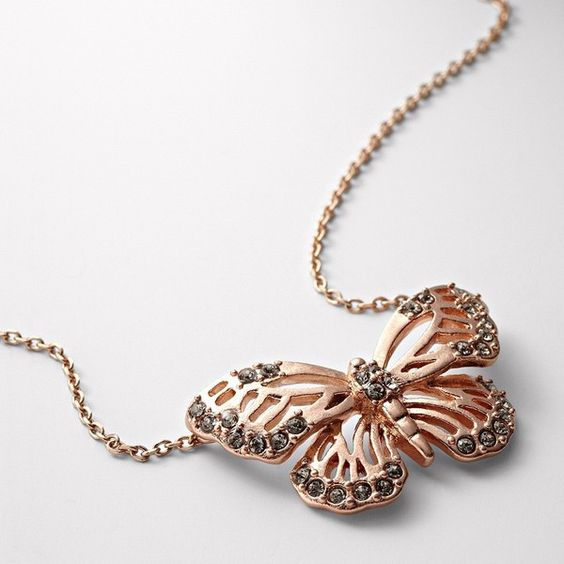 Glitz Butterfly Necklace ($34) ❤ liked on Polyvore featuring jewelry, necklaces, rose necklace, butterfly charm necklace, chain necklaces, pendants & necklaces and butterfly pendant necklace