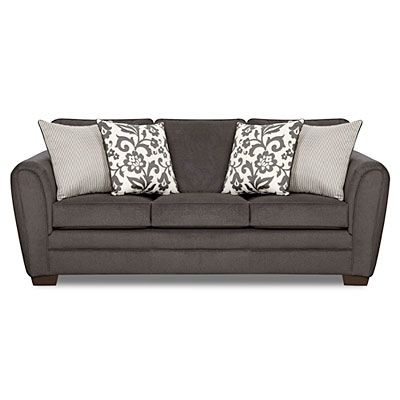 Simmons Flannel Charcoal Sofa With Pillows At Big Lots