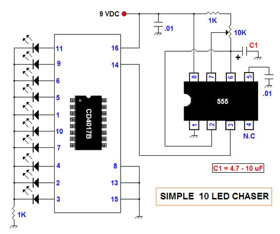 simple 10 led chaser circuit diagram electronica pinterest rh pinterest com Battery Circuit Diagram Battery Circuit Diagram