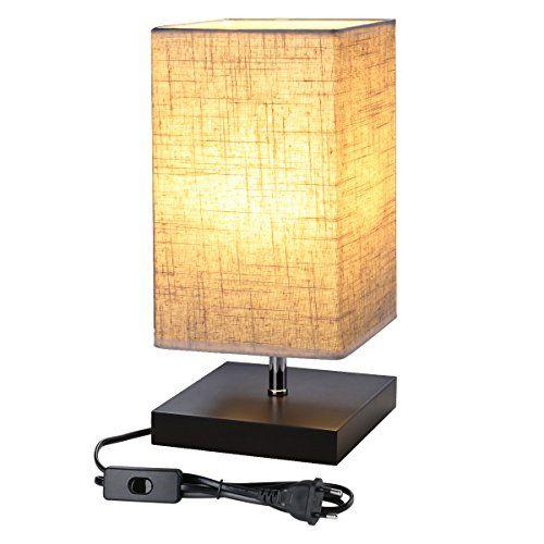 Le Nachttischlampe Tischlampe Holz Fur Schlafzimmer E27 Fassung Stoff Schreibtischlampe Nachtlicht Fur Wohnzimmers Lampenschirm Aus Stoff Nachttischlampe Lampe