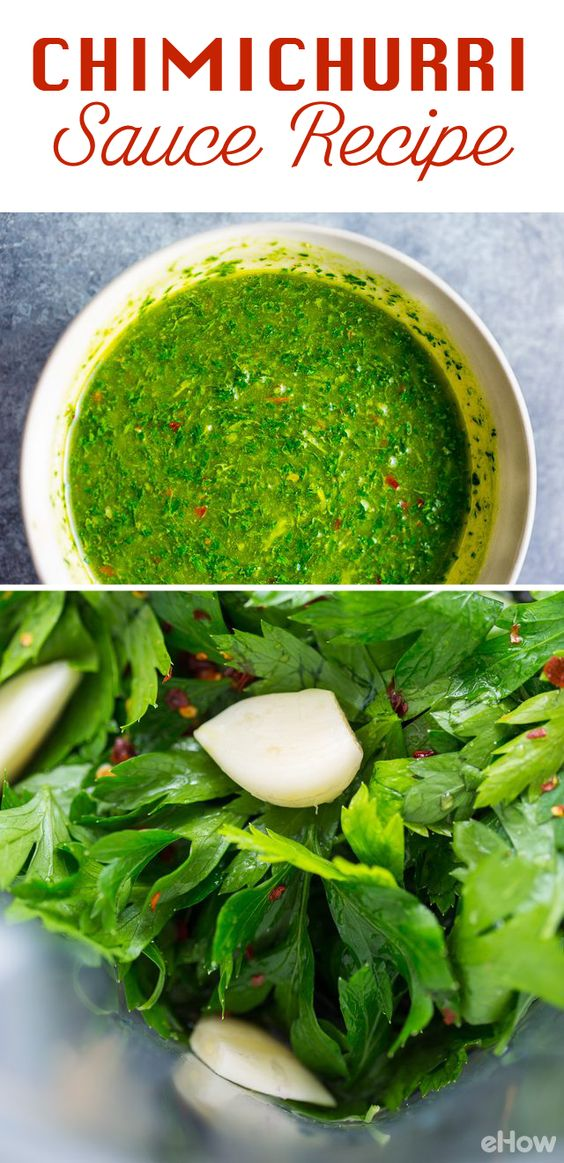Chimichurri is an Argentinian condiment that is fresh, bright and full of flavor! You can use it as a marinade, spread or dipping sauce. No matter what, this recipe with fresh parsley, garlic and red whine vinegar will blow you away! Easy recipe and how to here: http://www.ehow.com/how_12343520_add-flavor-foods-chimichurri-sauce-recipe.html?utm_source=pinterest.com&utm_medium=referral&utm_content=freestyle&utm_campaign=fanpage