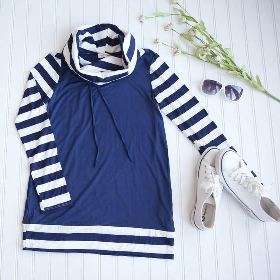 Striped & Solid Long Sleeve Cowl Neck