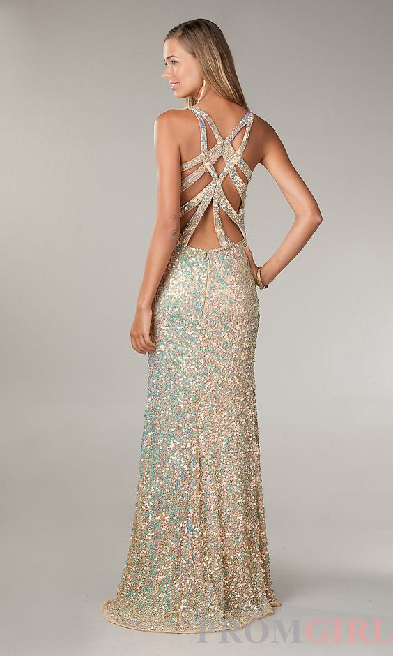 Primavera V-neck Sequin Prom Dress- Sequin Evening Gown-prom ...
