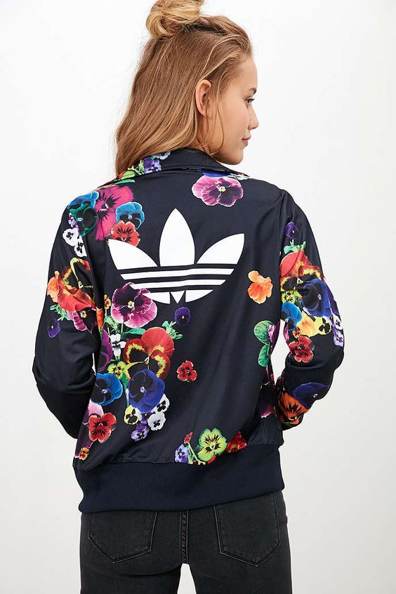 Adidas originals floral firebird track jacket urban for Adidas floral shirt urban outfitters