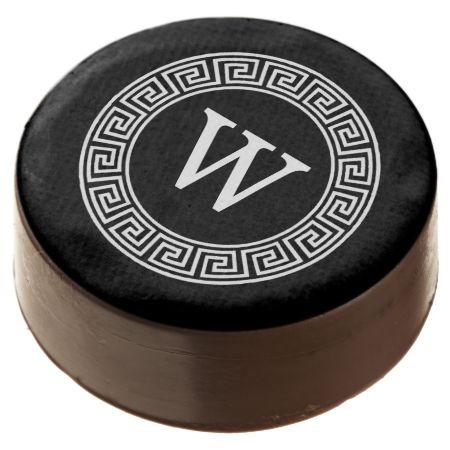 Black Wht Greek Key Rnd Frame Initial Monogram Chocolate Dipped Oreo