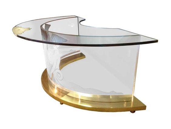 One of a Kind Lucite and Brass Demilune Desk with Etched Greek Nymphs | From a unique collection of antique and modern desks and writing tables at https://www.1stdibs.com/furniture/tables/desks-writing-tables/