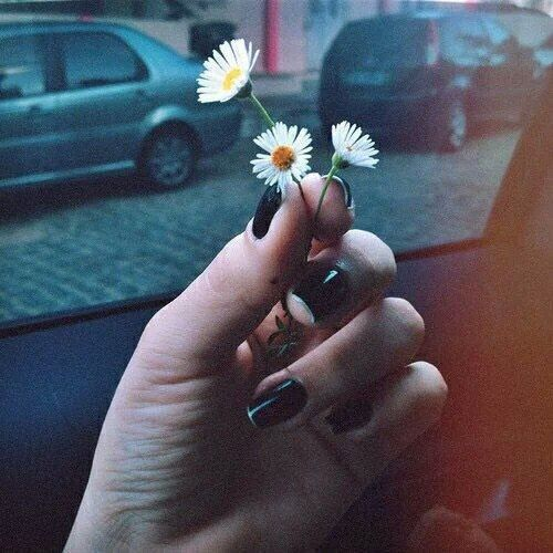 Image via We Heart It #black #fab #flowers #grunge #hipster #indie #nails #nice #pale #pretty #soft #vintage #beautiful