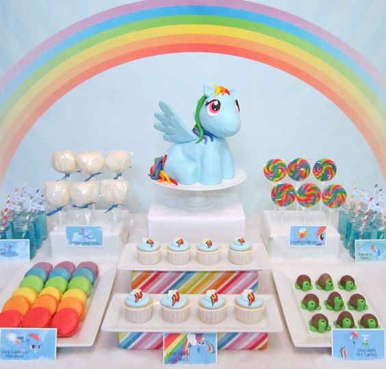 What an amazing dessert table at a My Little Pony party!  See more party ideas at CatchMyParty.com!  #partyideas #mylittlepony