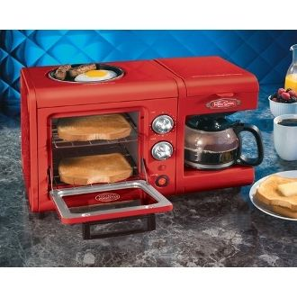 Nostalgia Bset100cr Coffee Maker Toaster Oven And Griddle