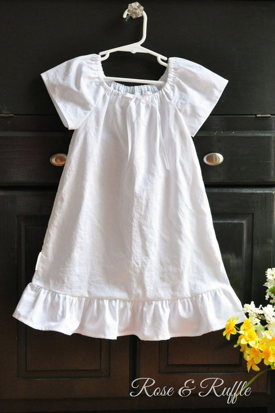 White Cotton Nightgown for Newborn Baby Girl Toddler Girl ...