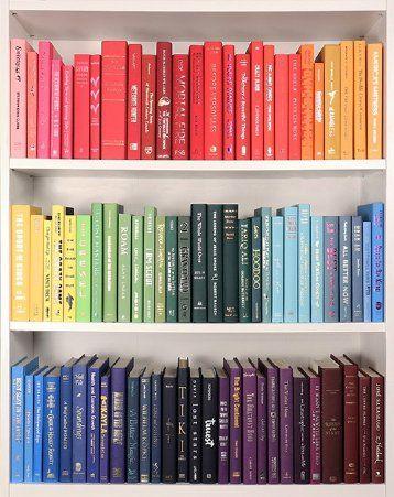 Rainbow Ombre Bookshelf Organization Bookshelves Bookshelf Inspiration