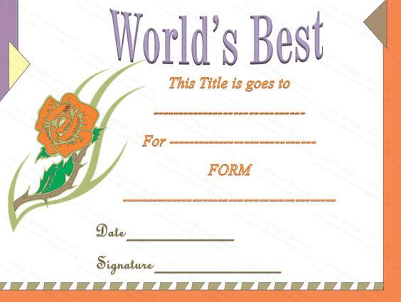 Classic Worldu0027s Best Award Certificate Template Award - acknowledgement certificate templates
