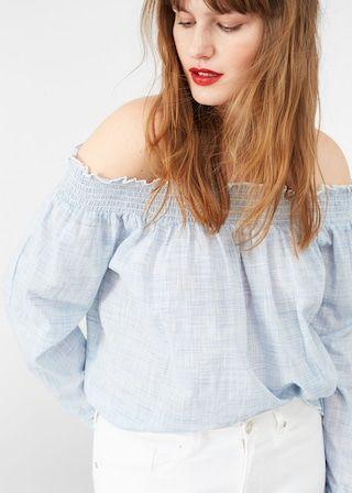 Blouse épaules dénudées à rayures - Chemise  Grandes tailles | Violeta by MANGO France