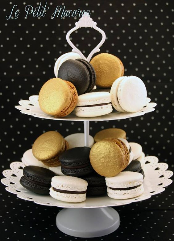 Black, White & Gold Macarons - https://www.facebook.com/au.lepetitmacaron