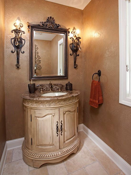 Simple elegant powder rooms pinterest beautiful for French country bathroom lighting