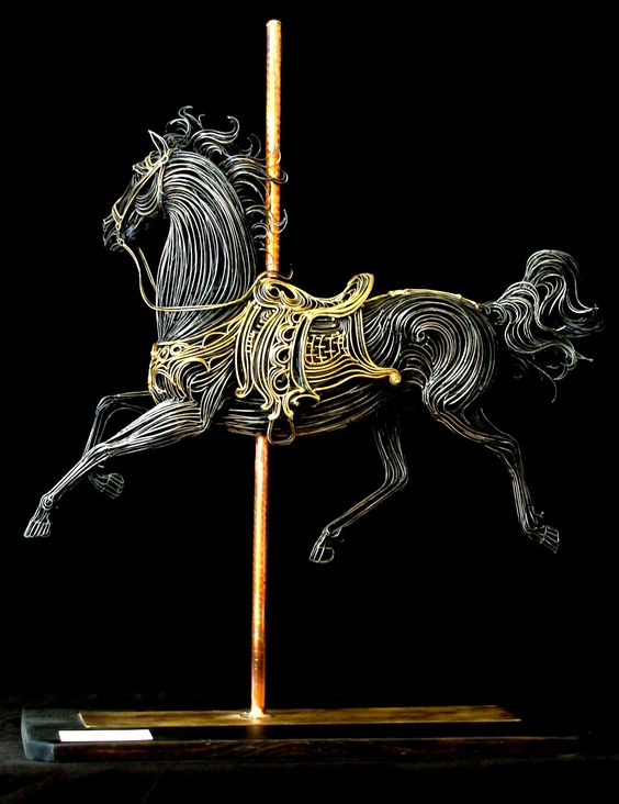 Robert Alan Hyde | ' Carousel Horse Sculpture'. Brass and steel rods, individually fashioned with the use of an oxygen and acetylene welding torch: