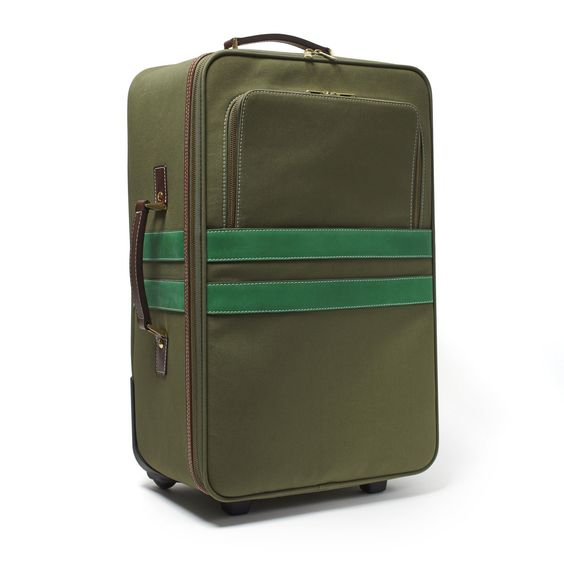 Pullman Carry-On Rolling Case – corroon Army Canvas with Kelly Green Leather