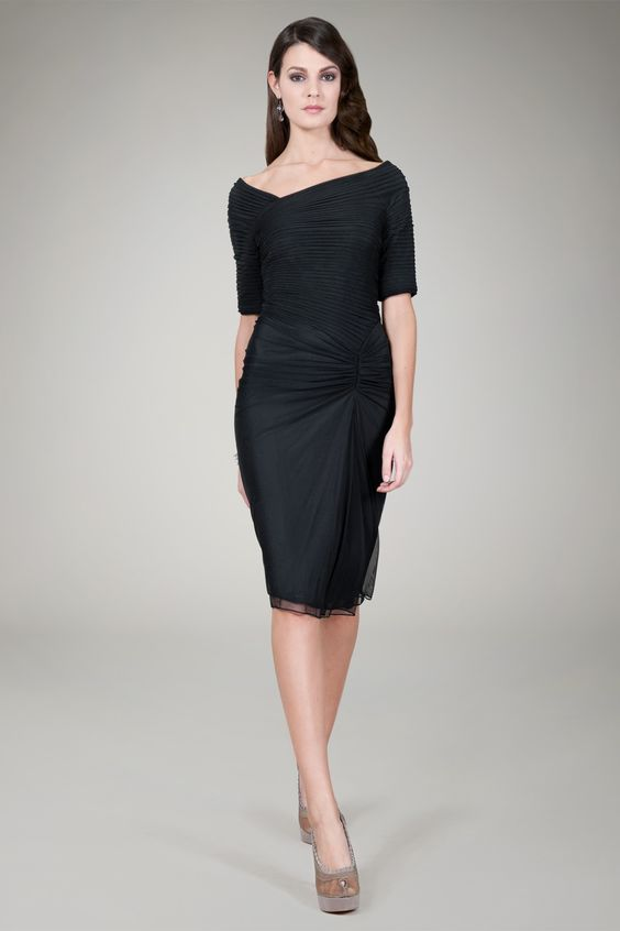 Ruched 3/4 Sleeve Cocktail Dress in Black - Cocktail Dresses ...