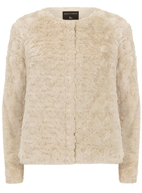 Cream short zip faux fur jacket | DP | Winter Wrapped Up