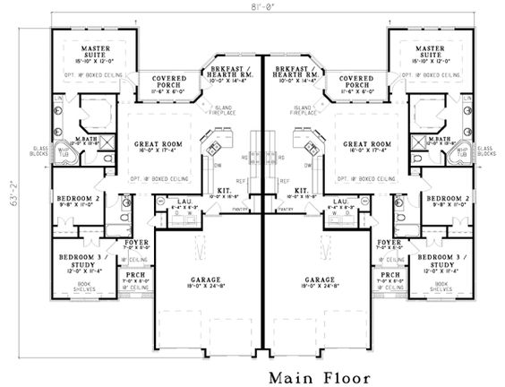 Multi Family Plan 62349 With 6 Bed 4 Bath 4 Car Garage Duplex Floor Plans Duplex Plans Duplex House Plans