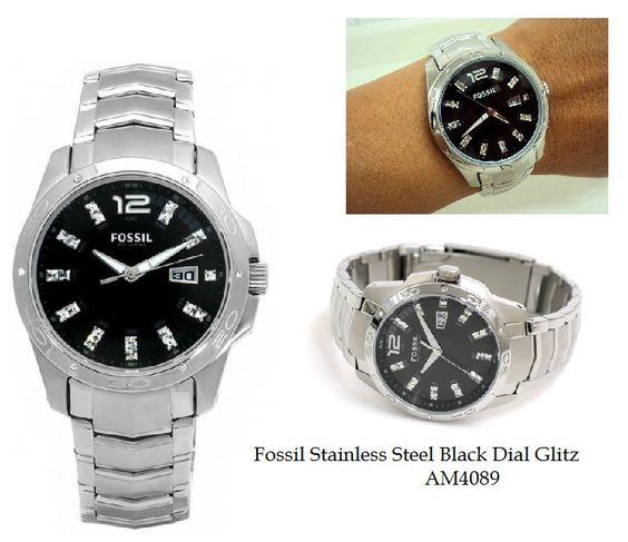 Fossil AM4089 Unisex stainless steel band, bling hour markers, bling bezel #fossilwatches #fossilwatch #fossilam4089