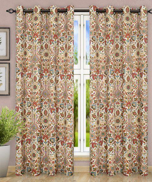 Ellis Curtain Adelle Floral Semi Sheer Grommet Curtain Panels