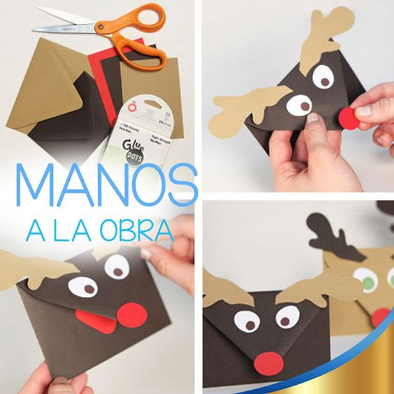 Para que Santa Claus vea lo bonita que quedó su carta       ¿qué tal si la adornan así? ¡Es muy sencillo! Necesitan hojas de colores (Café oscuro y café claro), pegamento, tijeras y calcomanías.