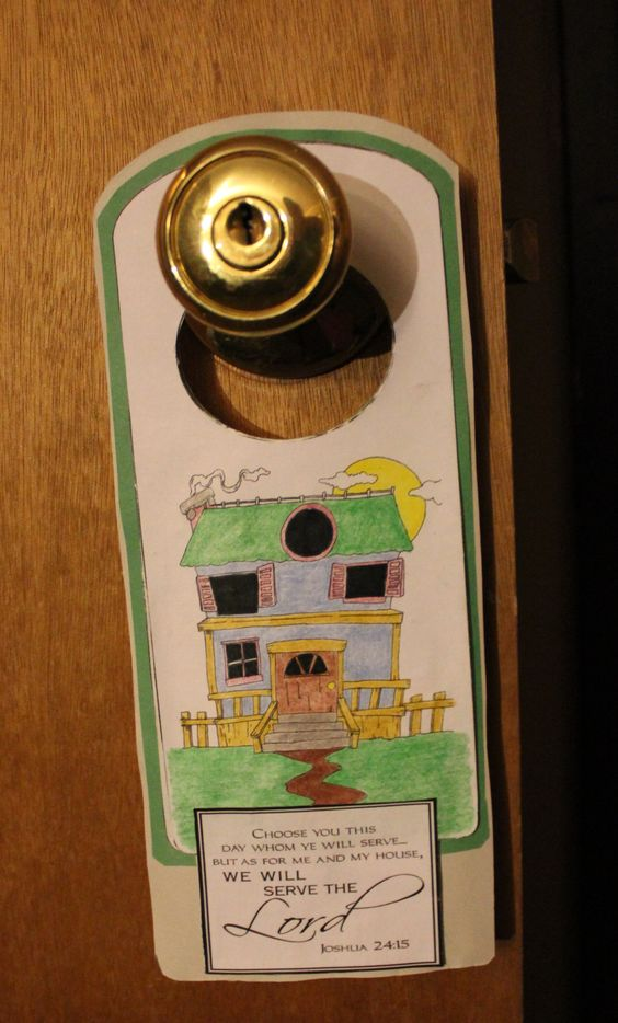 We will serve the lord door hanger as for me and my house for Joshua crafts for sunday school