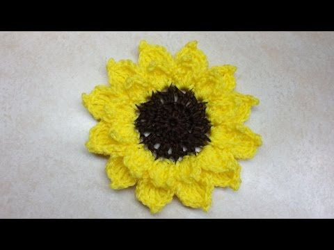 How to #Crochet Large Sunflower #TUTORIAL #166 - YouTube