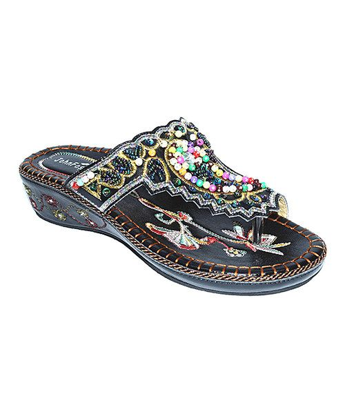 This Black Floral Bead Embroidered Sandal by JohnFashion is perfect! #zulilyfinds