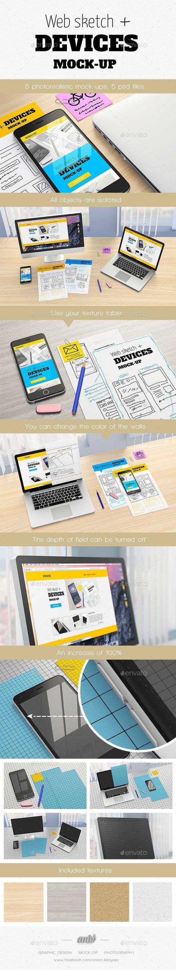Web sketch + Devices Mock-up #design Download: http://graphicriver.net/item/web-sketch-devices-mockup/12285404?ref=ksioks