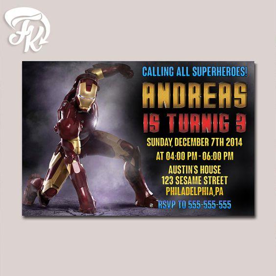 Iron Man Marvel Design Birthday Party Card Digital Invitation