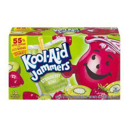 Kool Aid Jammers Strawberry Kiwi Artificially Flavored Drink 10 Ct Box Walmart Com Kool Aid Flavored Drinks Kool Aid Flavors