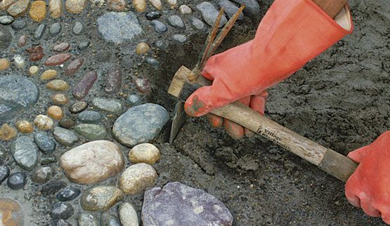 Tutorial for making mosaic walkway with stones. Something to do with all the stones we find along Lake Michigan!