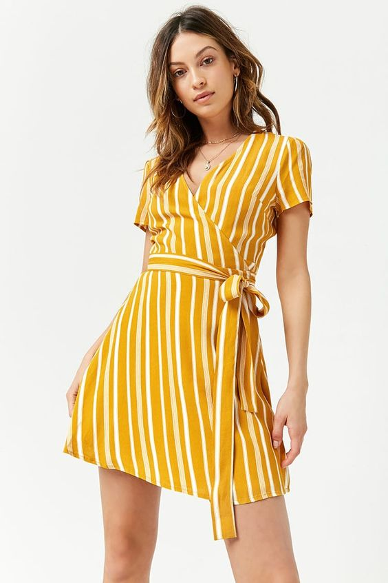 Product Name:Striped Surplice Wrap Dress, Category:dress, Price:19.9