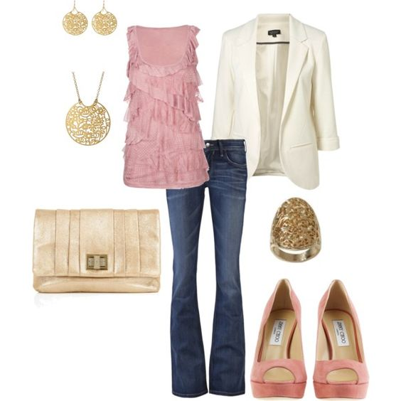 Rose & Gold, love this: White Blazers, Dream Closet, Gold Created, Color, Pink Outfit, Pink Tops, Rose Gold Outfits, Date Nights, Casual Fridays