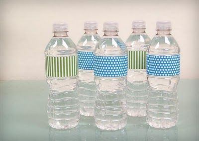 Use cute duct tape to cover the water bottle labels.