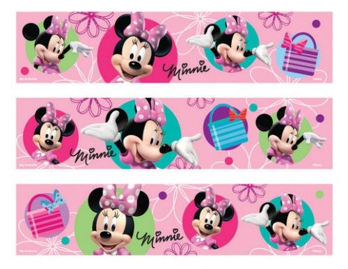 minnie mouse bow tique edible image cake borders by
